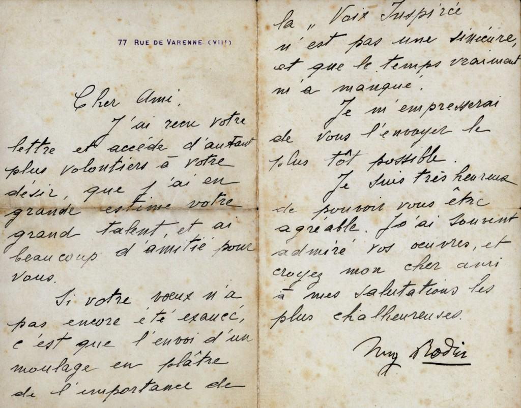 Rodinovo pismo Meštoviću