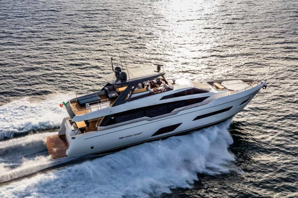 This is a photograph of a Ferretti 780