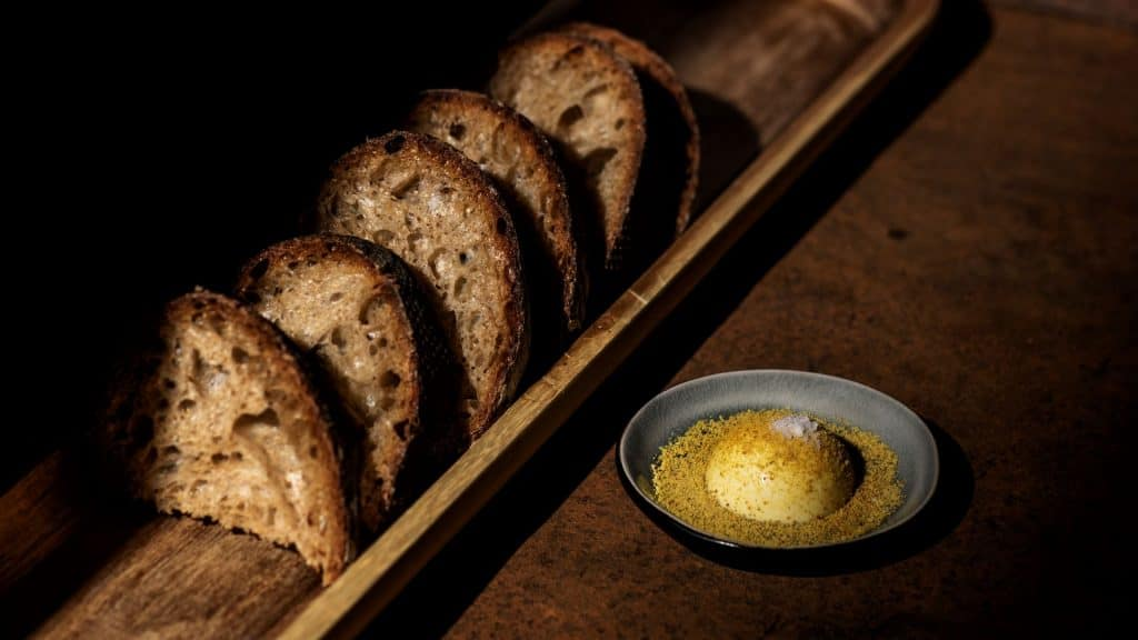 Spelt and whey sour bread, cultured butter with bee pollen
