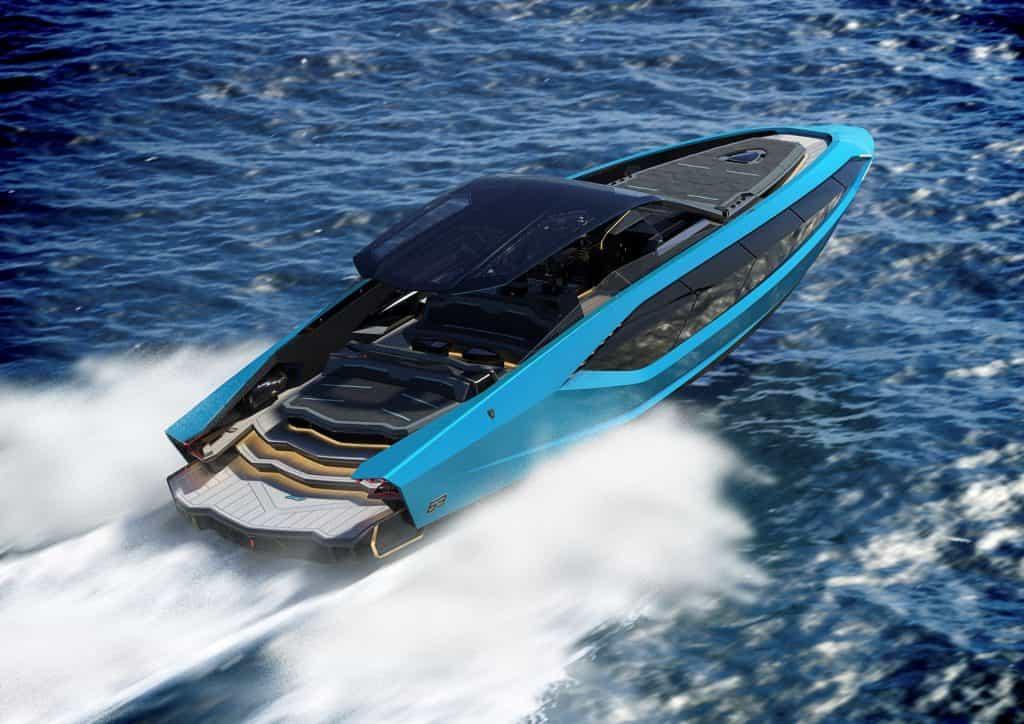 New Tecnomar Lambo Blue Rear And Side View 01