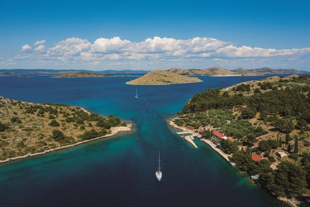 Boat sailing in Croatia