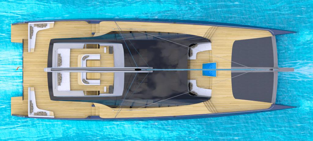 Luxury Catamaran Bird Eye View 01