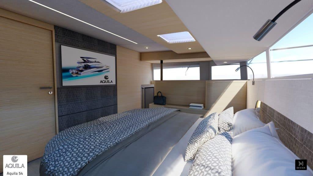 Aquila 54 Power Catamaran Master Cabin 01