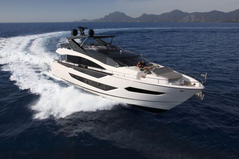 This is a photograph of Sunseeker 88 Yacht Running