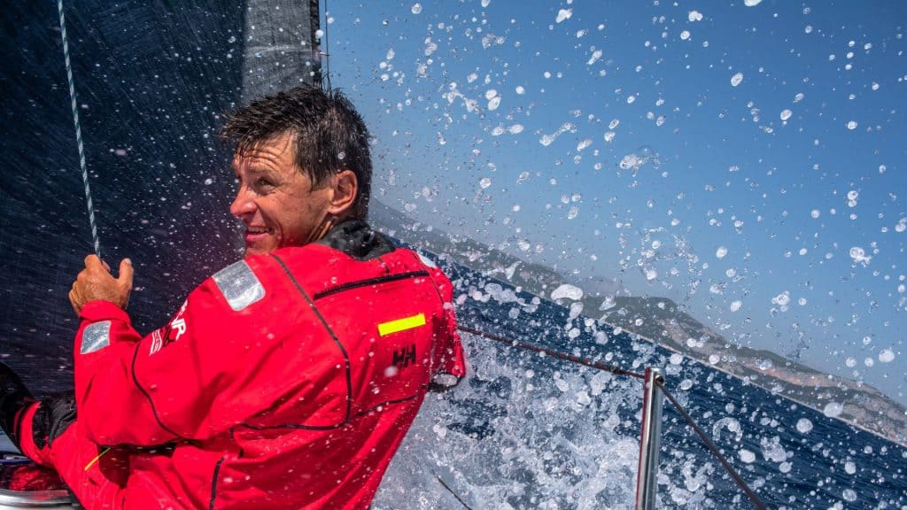 This is a photograph of a Ivica Kostelic at the sea