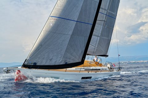 This is a photograph of a beneteau first yacht 53 sailing