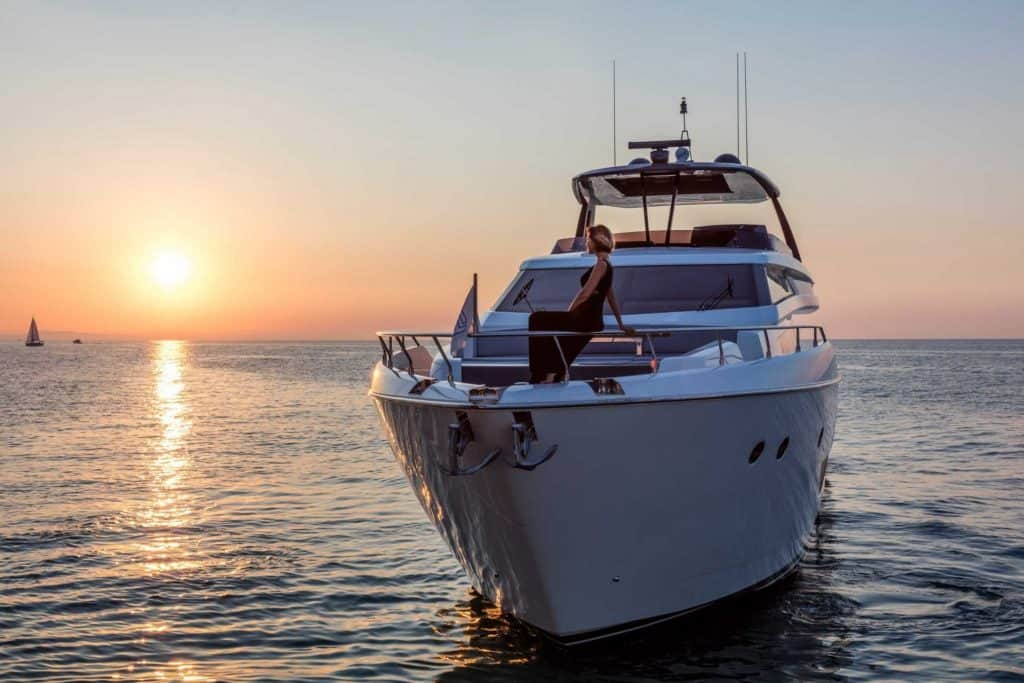 This is a photograph of a Ferretti 850 Bow 01