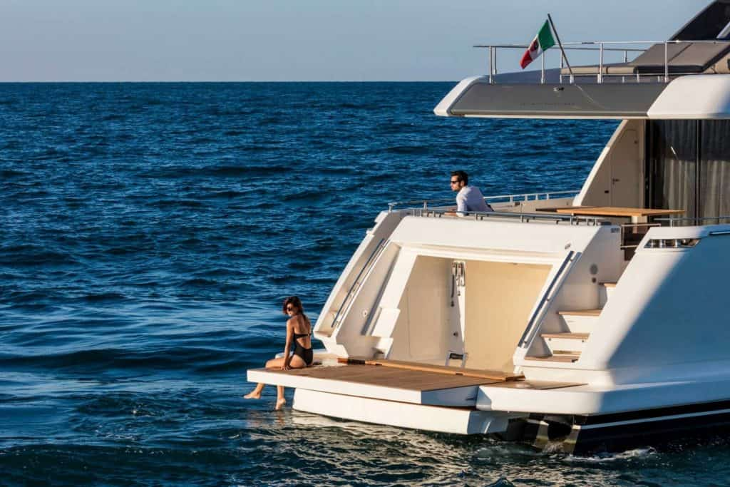 This is a photograph of a Bbeautiful Italian Yacht with Swimming Platform 01