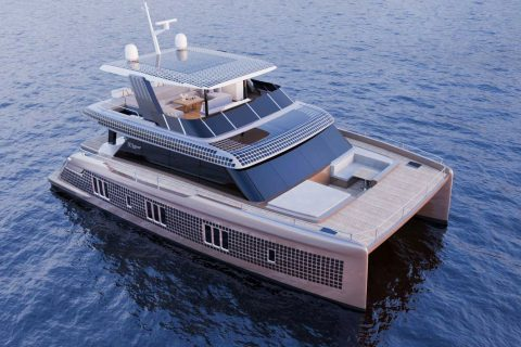 This is a photograph of a 60 Sunreef Power Eco Front Vew 01