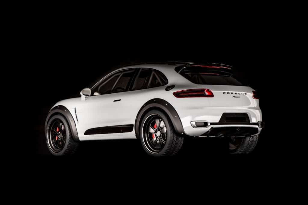 This is a photograph of a Porsche Macan Vision Safari Back View 01