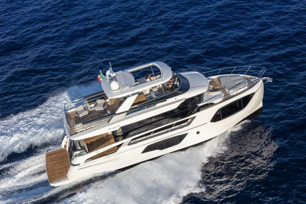 This is a photography of a Absolute Navetta 64 At The Sea