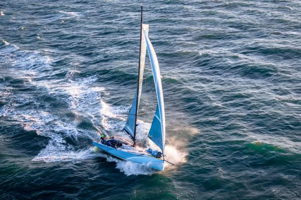 This is a photograph of a Optimus Prime sailboat
