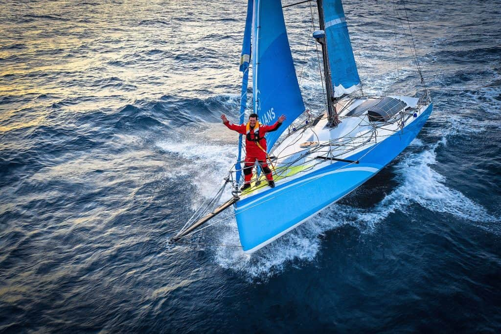 Thisi is a photography of Ivica Kostelić sailing on Optimus Prime