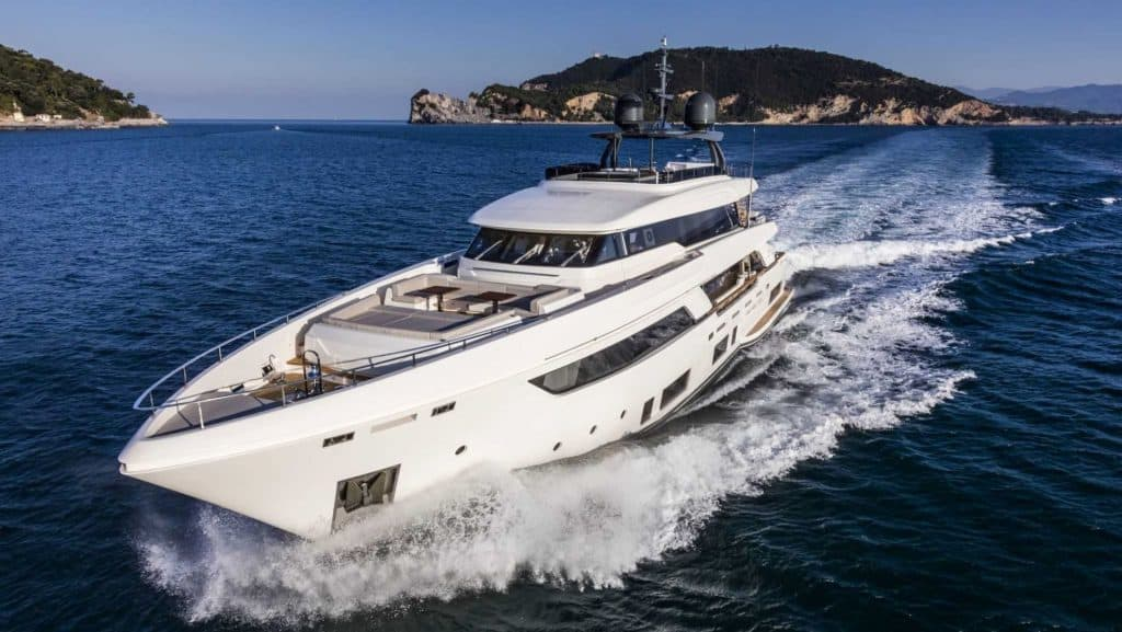 This is a photography of a Custom Line Navetta 37 cruising
