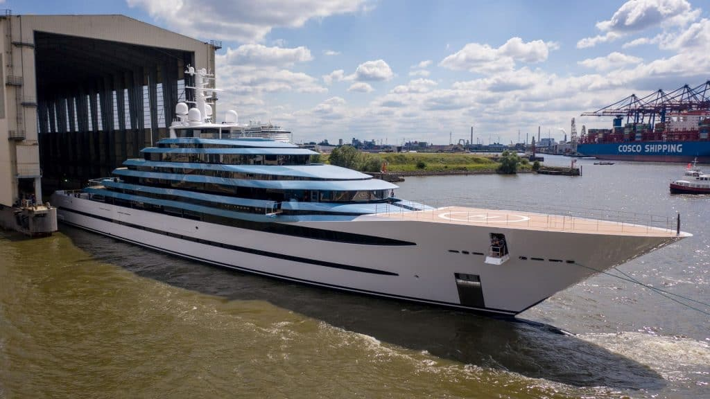 This is a photograph of a Lurssen Kaos in Shipyard