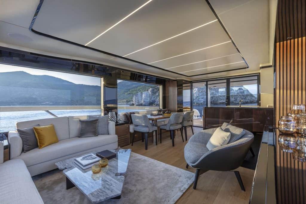 This is a photograph of a Absolute Navetta 64 Main Deck Salon 01