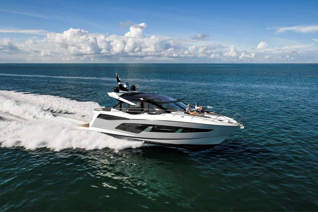 This is a photograph of Sunseeker Predator 55 EVO Cruising