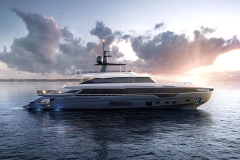 This is a photography of Azimut Grande Trideck Sideview 01