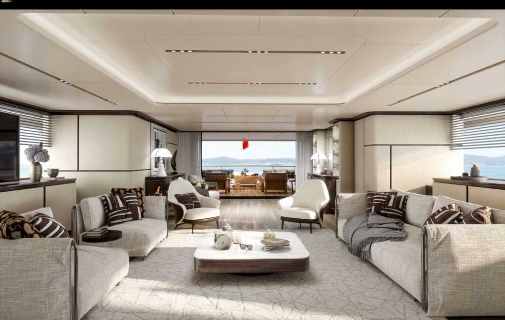 This is a photography of Benetti FB 284 Main Salon