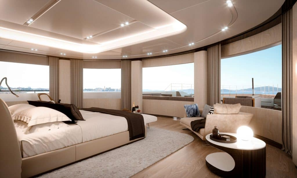 This is a photography of Benetti FB 284 Owner Cabin 01