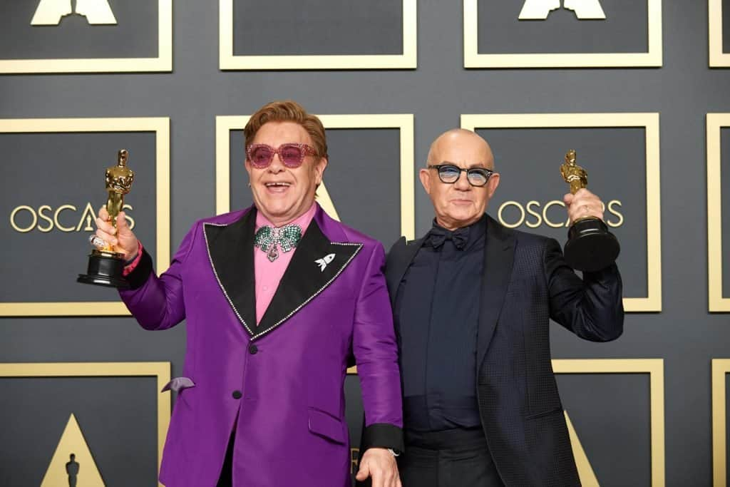 This is photo of a Elton John and Bernie Taupin at Oscars
