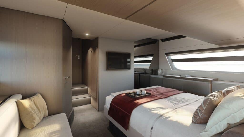 This is a photography of Azimut 53 owner suite