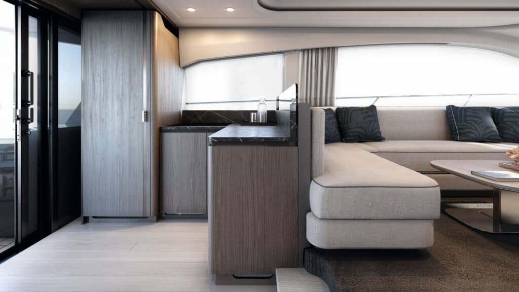 This is a photography of Azimut 53 salon interior