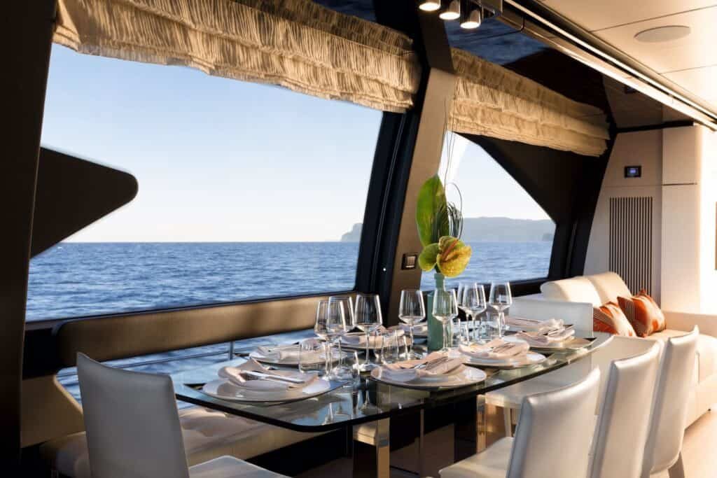 This is a photography of Azimut 72 dinning area