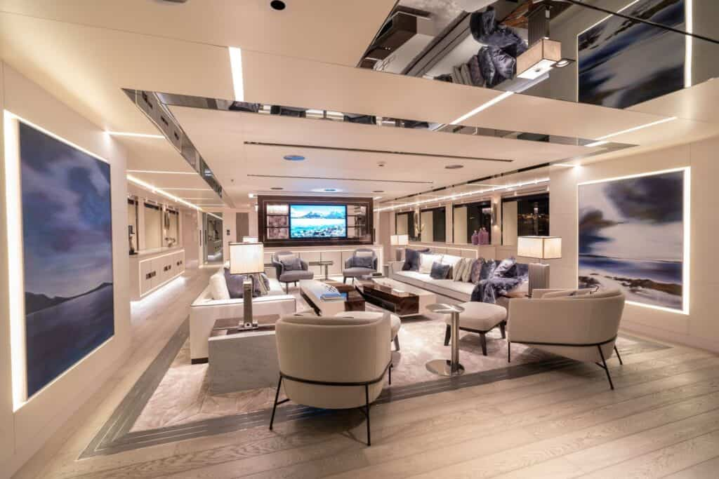 This is a photography of superyacht main saloon