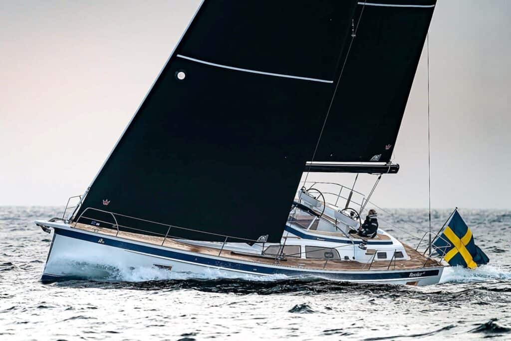 This is a photography of Hallberg Rassy 50 sailing boat