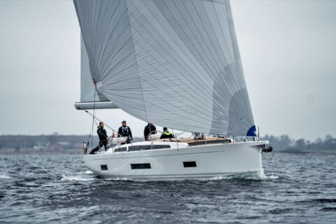 Thjis is a photography of x yachts x56 sea trial