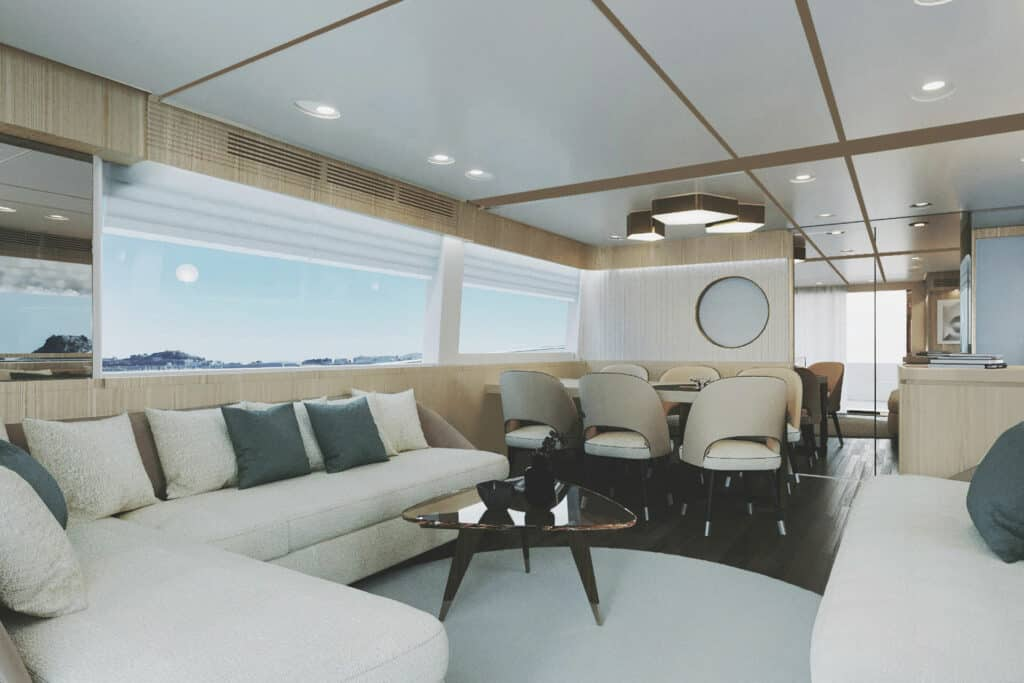 This is photo of a new Azimut navetta living space