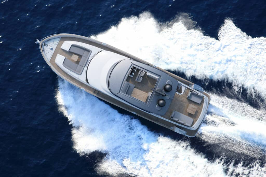 This is photo of a New Azimut Magellano 66 cruising