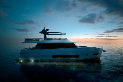 This is photo of a New Azimut Magellano 66 sideview