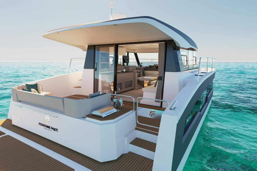 This is photo of a new Fountain Pajot catamaran
