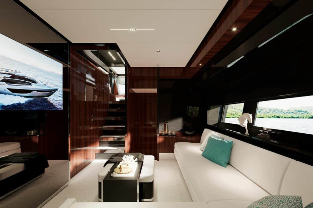 This is a photography of Riva's yacht dinette