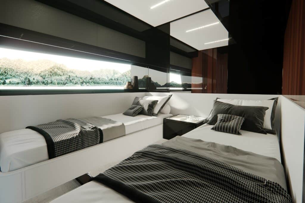 This is a photography of Riva's yachts double cabin