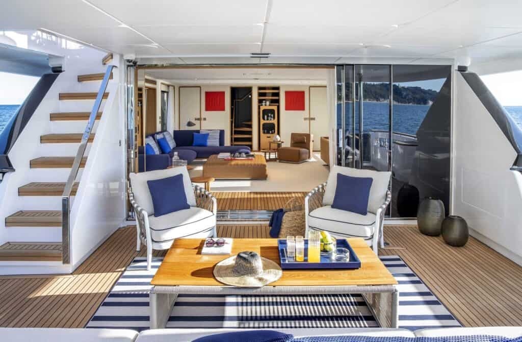 This is a photography of navetta yacht cockpit