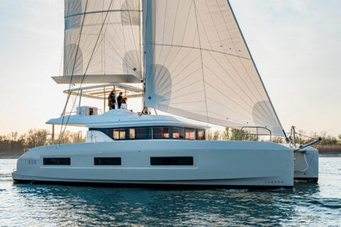 This is photo of a new Lagoon 55