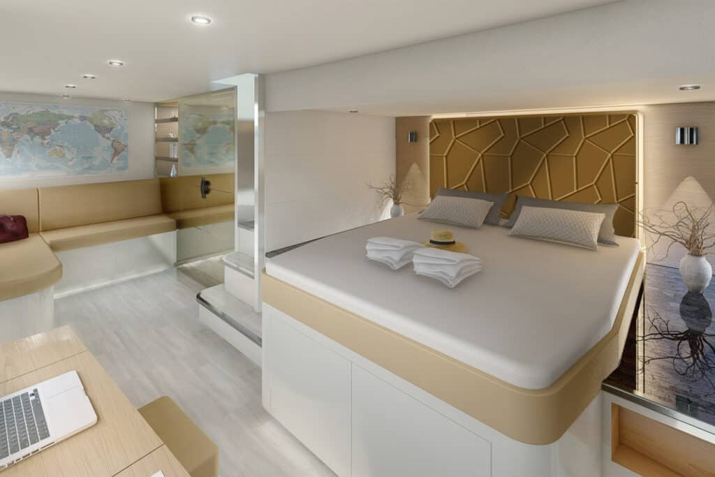 This is photo of a master cabin
