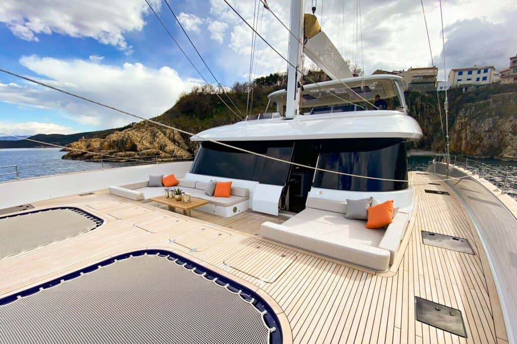 This is a photography of carbon catamaran Sunreef 80