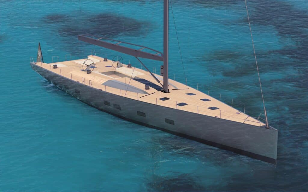 This is a photography of Wally 101 sailing yacht