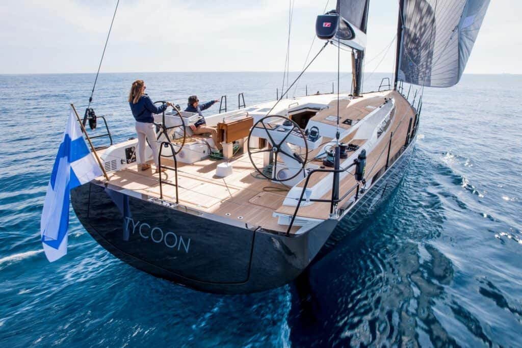 This is a photography of Nautor's Swan 58 back view