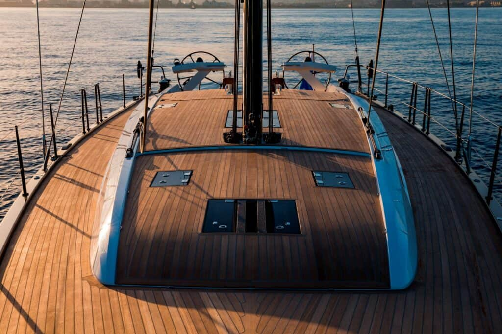 This is a photography of Nautor's Swan 58 deck