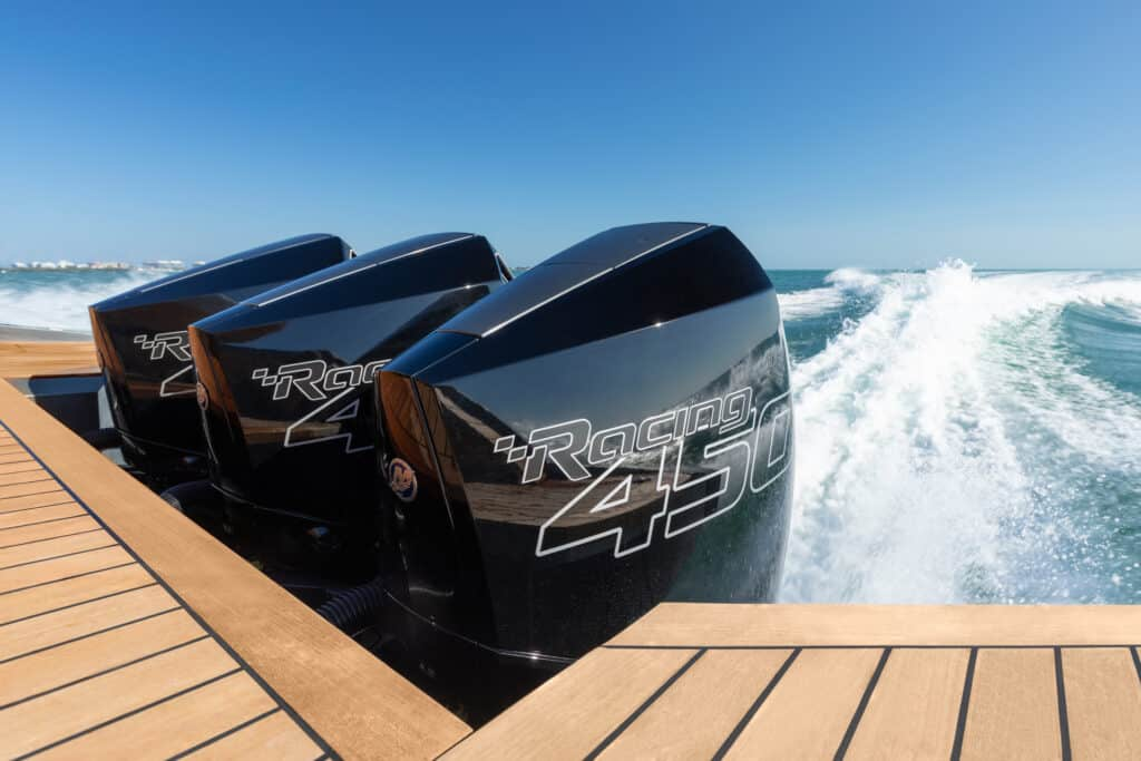 This is photo of a triple outboard motors