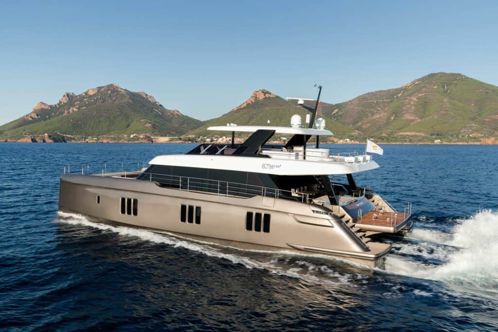 This is a photography of catamaran 80 Sunreef Power