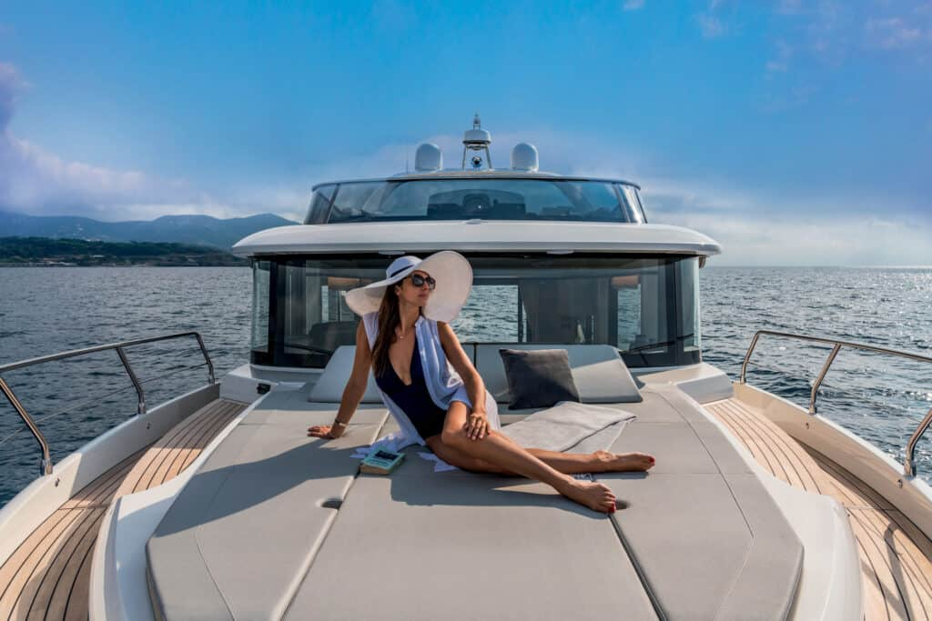 This is photo of a Navetta 48 sunbathing area