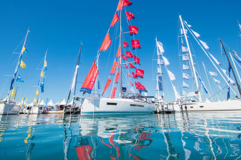 This is photo of a Cann Yachting Festival sailing boats
