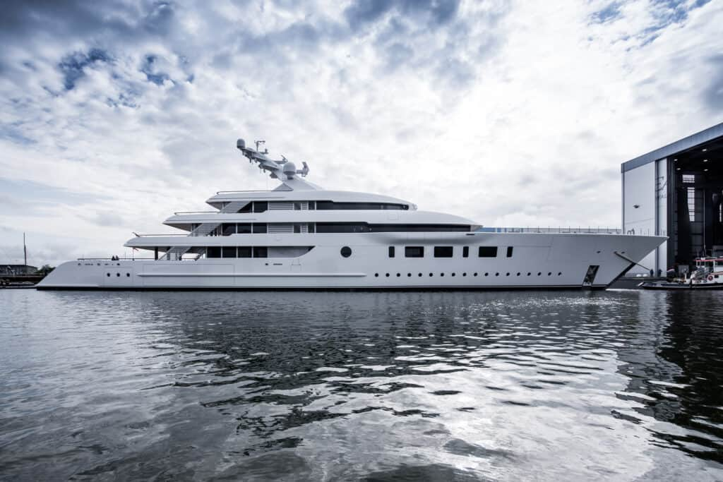 This is photo of a Feadship Bliss launch