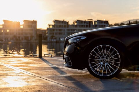 This is photo of a new Mercedes S-class at Portonovi